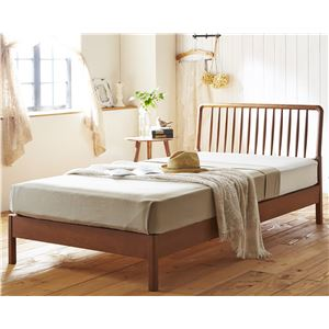 ウィンザー調 天然木 すのこベッド ダブル (フレームのみ) ブラウン 『Facil』 ベッドフレーム - 拡大画像