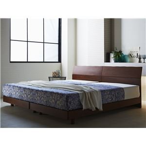 並べて使える 北欧風 すのこベッド ダブル (フレームのみ) ウォールナット 『Lude』 床高2段階調整可 ベッドフレーム - 拡大画像