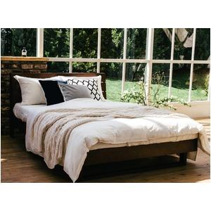 宮付き 二口コンセント付き ウォールナット材 すのこベッド ダブル (フレームのみ) ブラウン 『Secta』 ベッドフレーム - 拡大画像