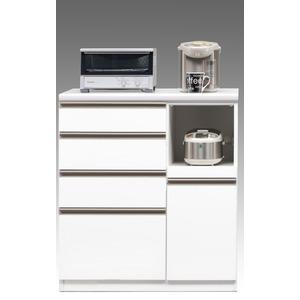 【開梱設置費込】キッチンカウンター ESシリーズ 90cm幅 レンジ台 ホワイト色 ハイタイプ 【日本製】 - 拡大画像