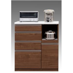 【開梱設置費込】キッチンカウンター ESシリーズ 90cm幅 レンジ台 ウォールナット色 ハイタイプ 【日本製】 - 拡大画像