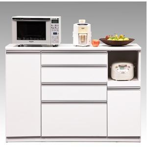 【開梱設置費込】キッチンカウンター ESシリーズ 140cm幅 レンジ台 ホワイト色 ハイタイプ 【日本製】 - 拡大画像