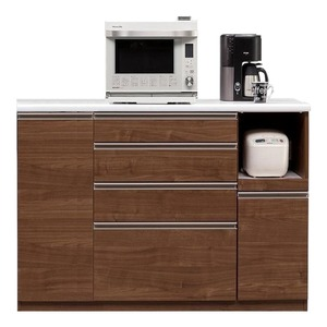 【開梱設置費込】キッチンカウンター ESシリーズ 140cm幅 レンジ台 ウォールナット色 ハイタイプ 【日本製】 - 拡大画像