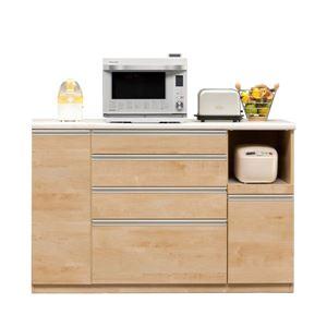 【開梱設置費込】キッチンカウンター ESシリーズ 140cm幅 レンジ台 メープル色 ハイタイプ 【日本製】 - 拡大画像