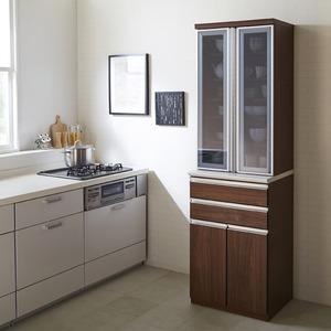 【開梱設置費込】食器棚 RNシリーズ 60cm幅 ダイニングボード キッチンボード ウォールナット色 【日本製】 - 拡大画像