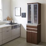 【開梱設置費込】食器棚 RNシリーズ 60cm幅 ダイニングボード キッチンボード ウォールナット色 【日本製】