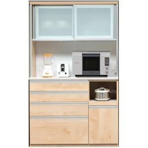 【開梱設置費込】食器棚 RNシリーズ 120cm幅 ダイニングボード キッチンボード 木目 メープル 【日本製】 - 拡大画像