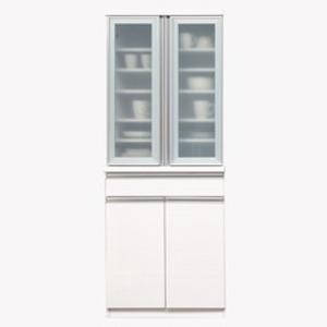 【開梱設置費込】食器棚 NTLシリーズ 70cm幅 高さ180cmダイニングボード  ホワイト ハイグロス 【日本製】