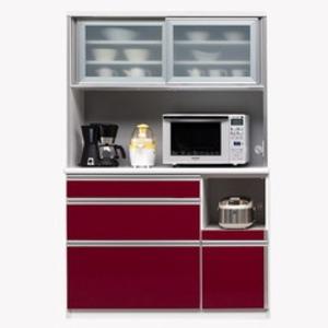 【開梱設置費込】食器棚 NTLシリーズ120cm幅 高さ180cm ダイニングボード ワインレッド ハイグロス 【日本製】 - 拡大画像