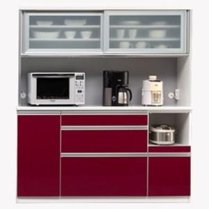【開梱設置費込】食器棚 NTLシリーズ160cm幅 高さ180cm ダイニングボード ワインレッド ハイグロス 【日本製】 - 拡大画像