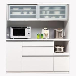 【開梱設置費込】食器棚 NTLシリーズ160cm幅 高さ180cm ダイニングボード ホワイト ハイグロス 【日本製】 - 拡大画像