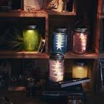 充電式ソーラーライト/ガラスジャー型照明 【スター/ピンク】 照度センサー内蔵 防雨仕様 『Glass Jar -star-』