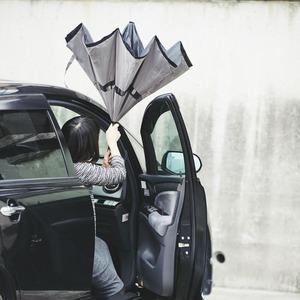 逆さに開く二重傘/アンブレラ 【ベージュ×ブラック】 晴雨兼用 自立可 『Circus サーカス』 - 拡大画像
