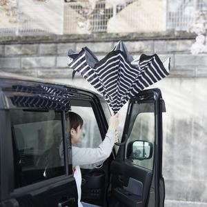 逆さに開く二重傘/アンブレラ 【ストライプ×ブラック】 晴雨兼用 自立可 『Circus サーカス』 - 拡大画像