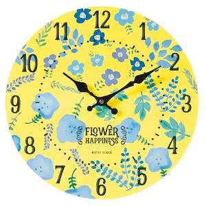 モチーフクロック/壁掛け時計 【Lサイズ/BLOOMING-yellow- ブルーミング イエロー】 直径33cm