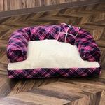 Pet Bed(ペットベッド)あご置きクッション付き ピンク×ホワイト