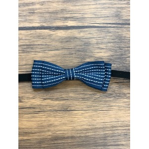 Pet bow tie(ペットボウウタイ) S ドットライン×ネイビー - 拡大画像