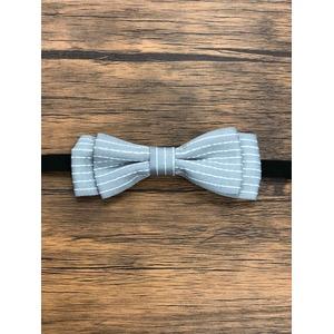 Pet bow tie(ペットボウウタイ) S ドットライン×グレー - 拡大画像