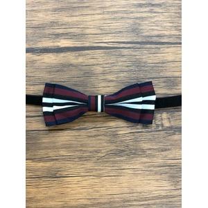 Pet bow tie(ペットボウウタイ) S ホワイト×ワインレッド - 拡大画像