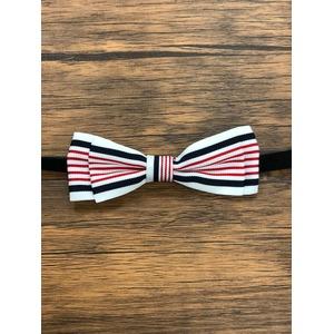 Pet bow tie(ペットボウウタイ) M ホワイト×レッド - 拡大画像