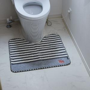 moz タフトトイレマットボーダー グレー 55×60cm - 拡大画像