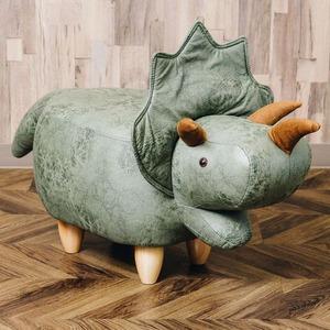 恐竜モチーフのスツール Triceratops(トリケラトプス)カーキ - 拡大画像