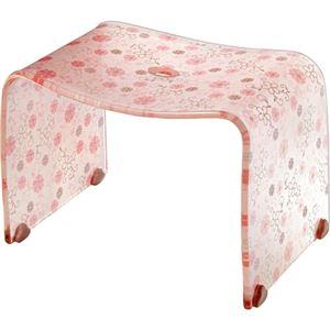 ロマンチック バスチェア/風呂椅子 【Mサイズ コーラルピンク】 脚ゴム付き 『フィルロ シュシュ』 - 拡大画像