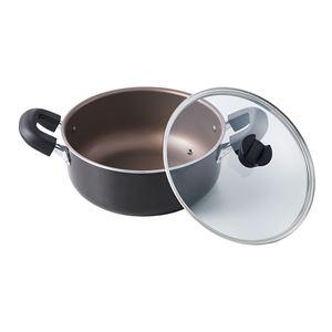 ベストコ 大きくて洗いやすい 大型鍋 IH 26cm ブラウンメタリック - 拡大画像