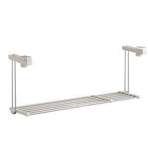 ステンレス 吊り戸棚下キッチンラック 1段 伸縮棚 ワームグレー - 拡大画像