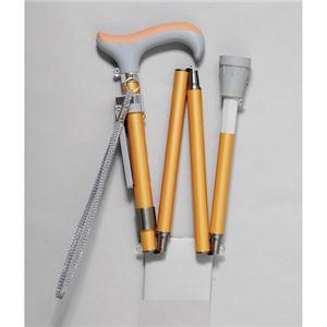 ピップ グランマおりたたみ4段階伸縮式杖オレンジ - 拡大画像