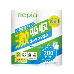 (まとめ) ネピア 激吸収キッチンタオル 2ロール 100カット【×30セット】