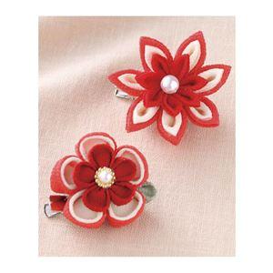 (まとめ)お花のブローチ 赤【×5セット】 - 拡大画像