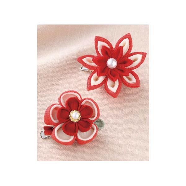 (まとめ)お花のブローチ 赤【×5セット】