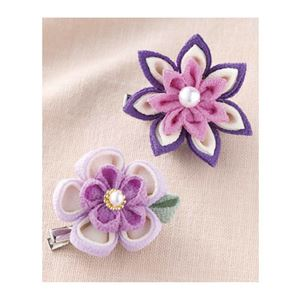 (まとめ)お花のブローチ 紫【×5セット】 - 拡大画像