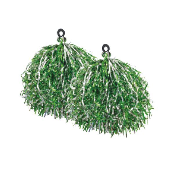 (まとめ)サンワ キラキラポンポン(2個組)緑 43-886【×20セット】