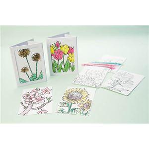 (まとめ)羽立工業 お花の塗り絵はがきセット 50枚 RH4202【×3セット】 - 拡大画像