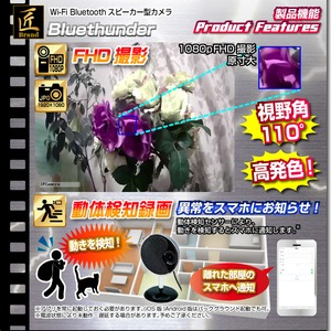 【小型カメラ】Wi-Fi Bluetoothスピーカー型カメラ(匠ブランド)『Bluethunder』(ブルーサンダー)