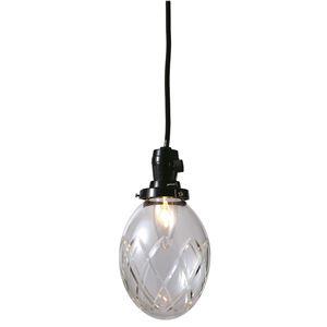 切子たまご矢来ランプ/ペンダントライト 【クリアー】 直径13×高さ16cm ガラス 〔インテリア照明器具〕 - 拡大画像