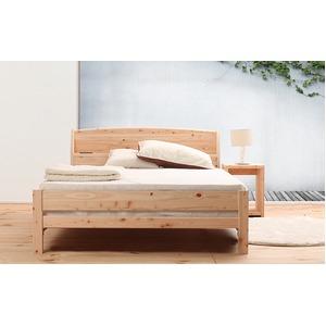 国産 宮付き ひのき すのこベッド(ベッドフレームのみ)ダブル 無塗装 - 拡大画像