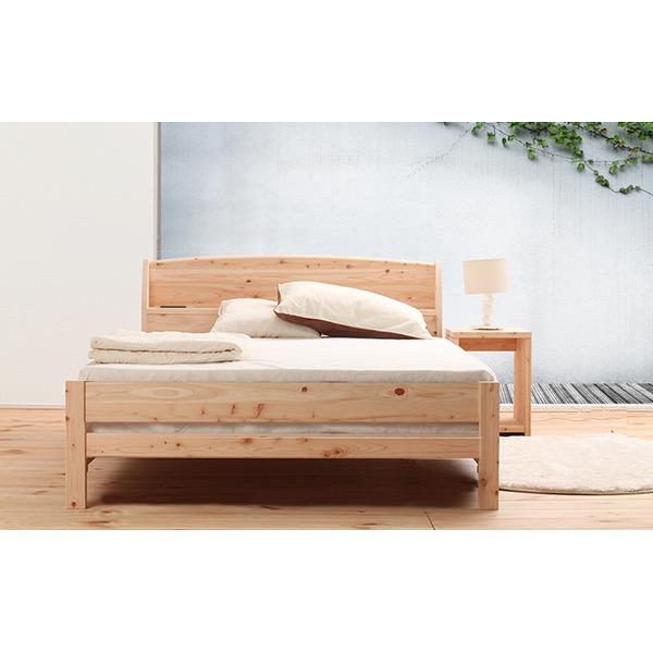 国産 宮付き ひのき すのこベッド(ベッドフレームのみ)ダブル 無塗装