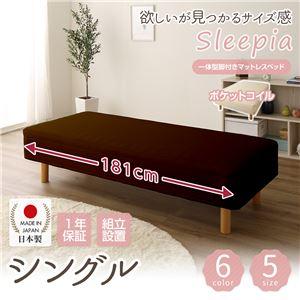 【組立設置費込】日本製 ショート丈 脚付きマットレスベッド ポケットコイル(硬さ:レギュラー) シングル 26cm脚 『Sleepia』スリーピア ブラウン