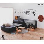 親子ペアベッド すのこベッド 【フレーム+中国製マットレス 2本セット】 シングル ブラック 組立品
