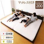 日本製 フロアベッド ワイドキング (ポケットコイルマットレス付き) クリーンアッシュ 照明付き 宮付きWK200 S+S『hohoemi』