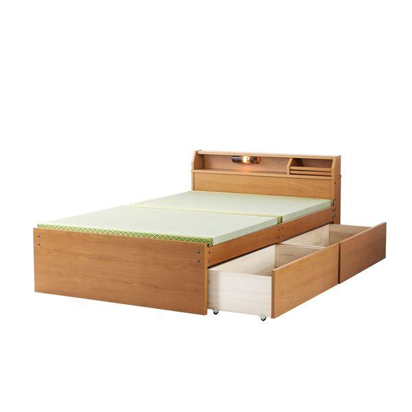 日本製 天然い草 収納ベッド 【ハイタイプ ダブル ライトブラウン】 引き出し付き