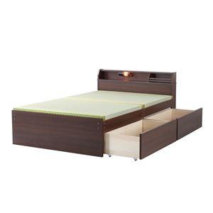 日本製 天然い草 収納ベッド 【ハイタイプ ダブル ダークブラウン】 引き出し付き - 拡大画像