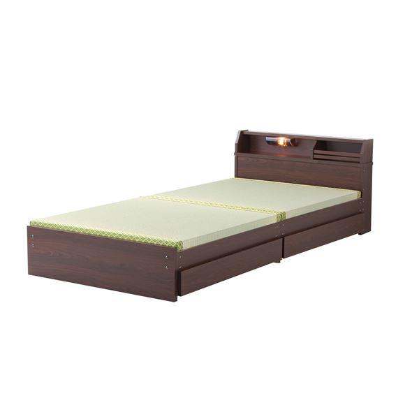 日本製 天然い草 収納ベッド 【ロータイプ シングル ダークブラウン】 引き出し付き