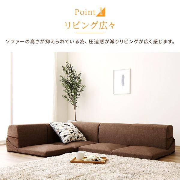 日本製 洗える カバーリング コーナーフロアソファー 3点セット 『Korot』コロット ベージュ ダリアン生地 こたつ対応