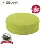 極厚 低反発クッション/インテリア雑貨 【ラウンドタイプ グリーン】 洗えるカバー 日本製ウレタン使用 『Pastel』