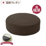 極厚 低反発クッション/インテリア雑貨 【ラウンドタイプ ブラウン】 洗えるカバー 日本製ウレタン使用 『Pastel』