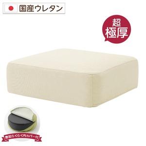 極厚 低反発クッション/インテリア雑貨 【スクエアタイプ ベージュ】 洗えるカバー 日本製ウレタン使用 『Pastel』 - 拡大画像